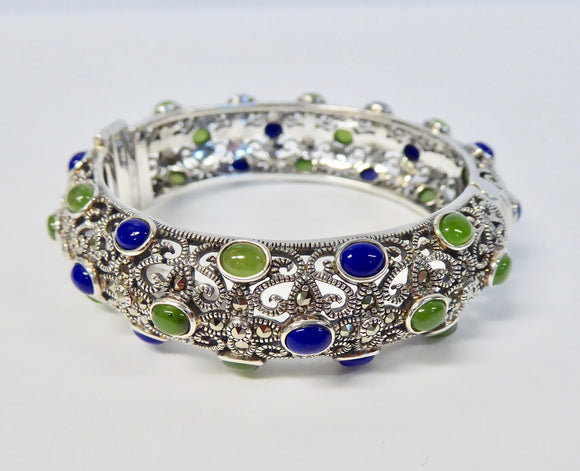 LUKE STOCKLEY SILVER MARCASITE JADE & LAPIS BANGLE