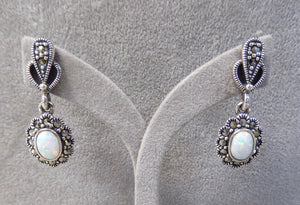 LUKE STOCKLEY SILVER MARCASITE & OPAL DROP EARRINGS