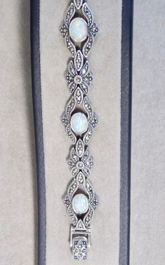 LUKE STOCKLEY SILVER MARCASITE & OPAL BRACELET