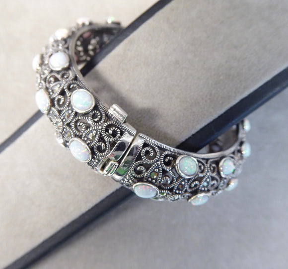 LUKE STOCKLEY SILVER MARCASITE & OPAL BANGLE