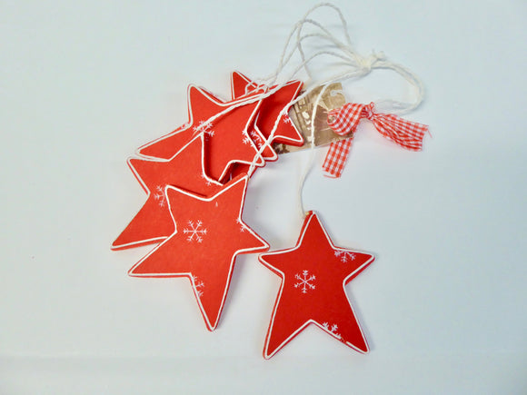 CHRISTMAS TREE DECORATIONS - BUNDLES OF WOODEN STARS, TREES OR HEARTS