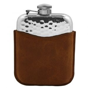 ENGLISH PEWTER 6OZ HIP FLASK WITH BROWN LEATHER POUCH