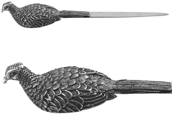 ENGLISH PEWTER PHEASANT LETTER OPENER