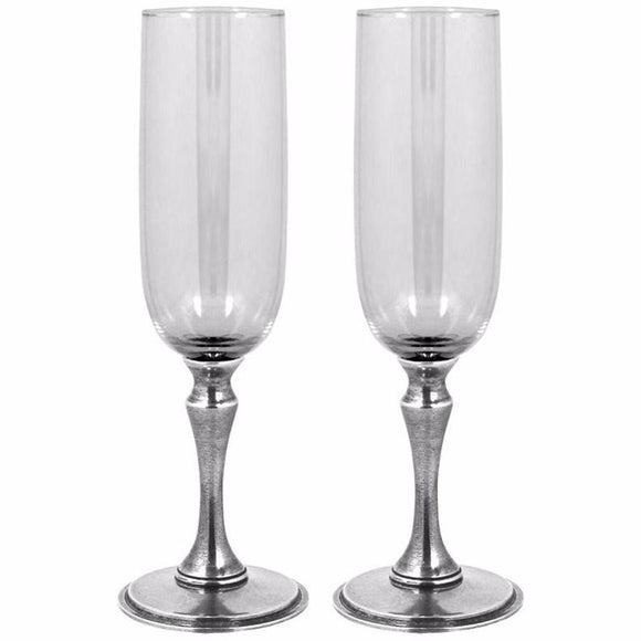 ENGLISH PEWTER CHAMPAGNE FLUTES