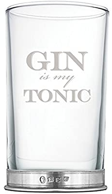 ENGLISH PEWTER 12OZ GIN HIBALL GLASS