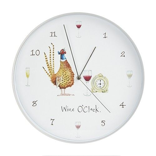 WINE O'CLOCK PHEASANT WALL CLOCK