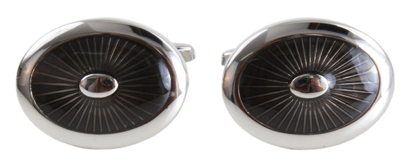 DALACO BLACK OVAL ENAMEL CUFFLINKS