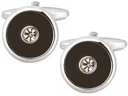 DALACO BLACK & CRYSTAL CUFFLINKS