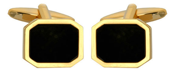 DALACO GOLD PLATED ONYX CUFFLINKS