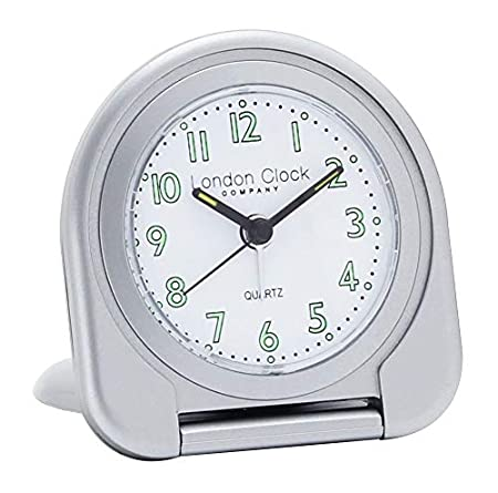 LONDON CLOCK SILVER FLIP TRAVEL ALARM CLOCK