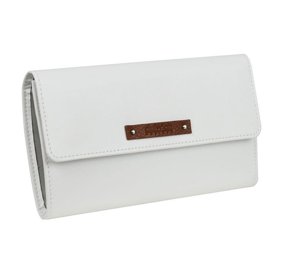 DULWICH WHITE LEATHER JEWELLERY ROLL