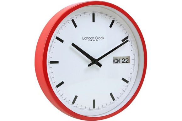 LONDON CLOCK DAY DATE RED WALL CLOCK