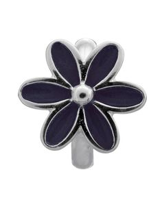 ENDLESS SILVER BLACK ENAMEL FLOWER CHARM