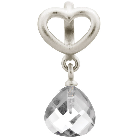 ENDLESS SILVER CLEAR CRYSTAL HEART GRIP DROP CHARM