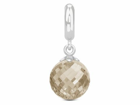 ENDLESS SILVER SMOKEY CRYSTAL LOVE DROP CHARM