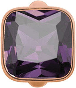 ENDLESS SILVER ROSE GOLD PLATED AMETHYST CRYSTAL BIG CUBE CHARM