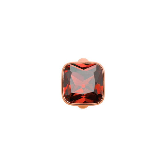 ENDLESS SILVER ROSE GOLD PLATED GARNET CRYSTAL BIG CUBE CHARM