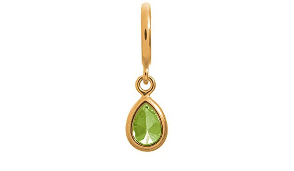 ENDLESS SILVER GOLD PLATED PERIDOT CZ DROP CHARM