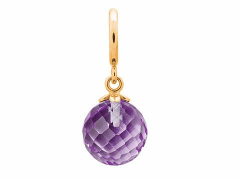ENDLESS SILVER GOLD PLATED AMETHYST CRYSTAL LOVE DROP CHARM