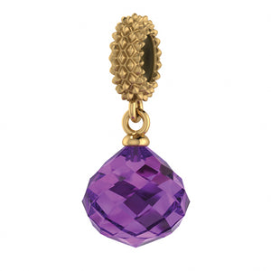 ENDLESS SILVER GOLD PLATED AMETHYST CRYSTAL MYSTERIOUS DROP CHARM