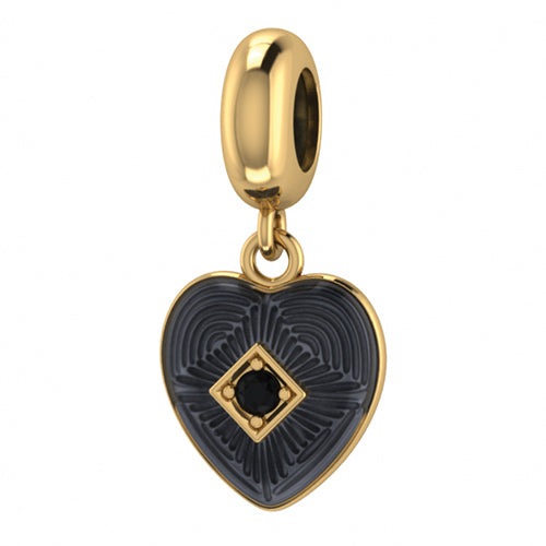 ENDLESS SILVER GOLD PLATED BLACK CZ BIG HEART CHARM