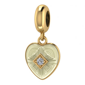 ENDLESS SILVER GOLD PLATED WHITE CZ BIG HEART CHARM