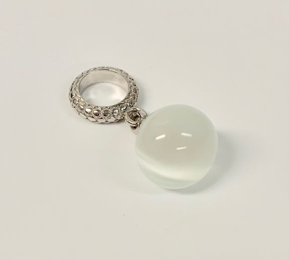 ENDLESS SILVER WHITE SNAKE EYE CHARM