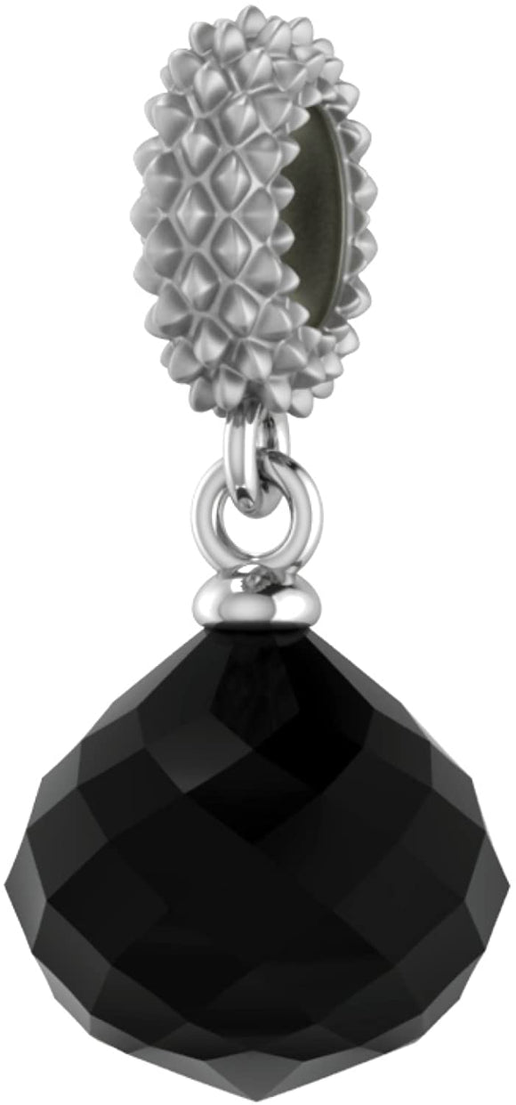 ENDLESS SILVER BLACK CRYSTAL MYSTERIOUS DROP CHARM