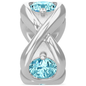 ENDLESS SILVER SKY BLUE CZ INFINITY OCEAN CHARM