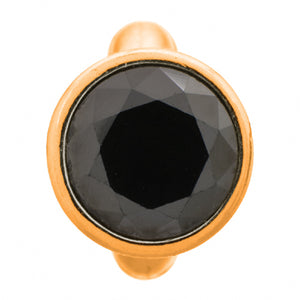 ENDLESS SILVER GOLD PLATED BLACK CZ DOME CHARM