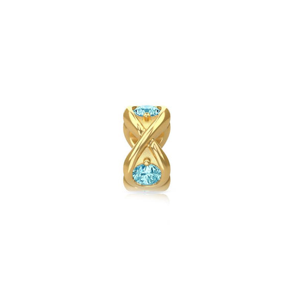 ENDLESS SILVER GOLD PLATED SKY BLUE CZ INFINITY OCEAN CHARM