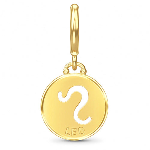 ENDLESS SILVER GOLD PLATED LEO ZODIAC COIN CHARM