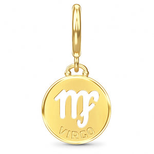 ENDLESS SILVER GOLD PLATED VIRGO ZODIAC COIN CHARM