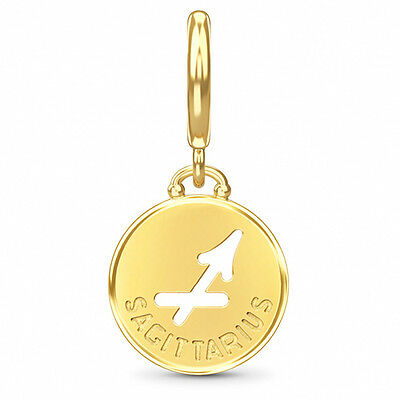 ENDLESS SILVER GOLD PLATED SAGITTARIUS ZODIAC COIN CHARM