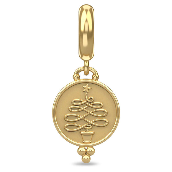ENDLESS SILVER GOLD PLATED CHRISTMAS TREE COIN CHARM