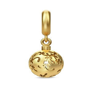ENDLESS SILVER GOLD PLATED MISTLETOE BALL DROP CHARM
