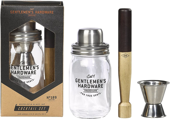 WILD & WOLF MUDDLER & GLASS JAR COCKTAIL SET