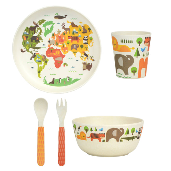 WILD & WOLF BAMBOO OUR WORLD 5 PIECE CHILD SET
