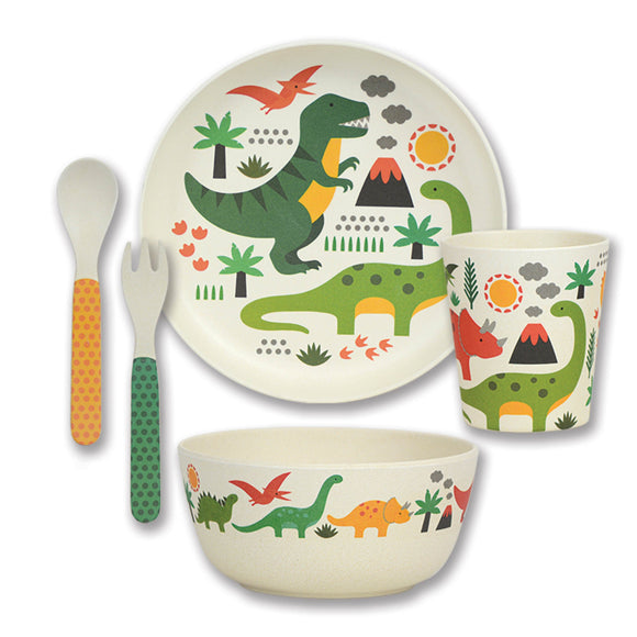 WILD & WOLF BAMBOO DINOSAURS 5 PIECE CHILD SET