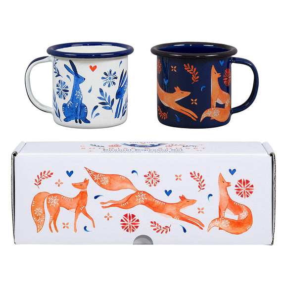 WILD & WOLF HARE & FOX SET OF 2 ESPRESSO CUPS
