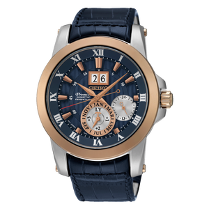 SEIKO MEN'S PREMIER TWO TONE KINETIC WATCH WITH PERPETUAL CALENDAR