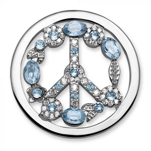 MI MONEDA PEACE ICE BLUE LARGE PENDANT DISC