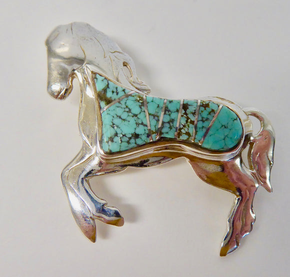 SILVER TURQUOISE HORSE PENDANT/BROOCH