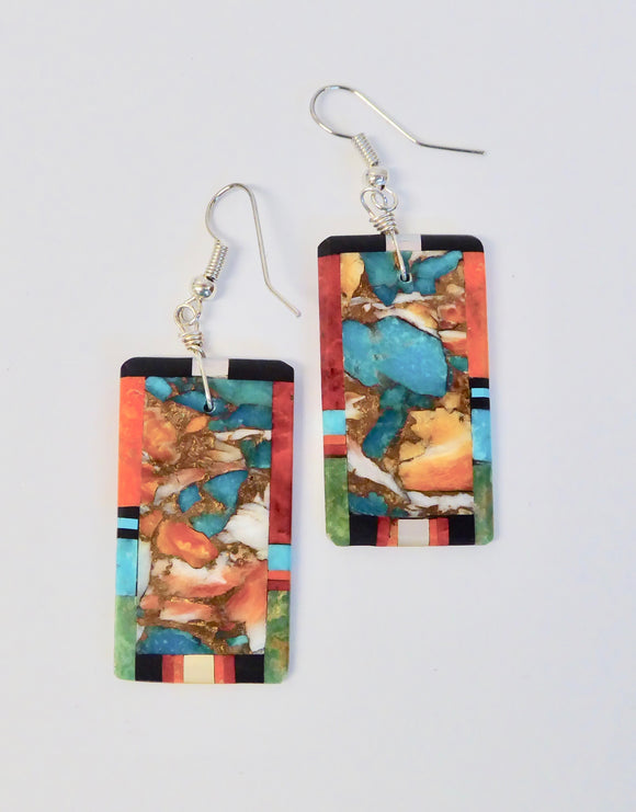 SILVER TURQUOISE & CORAL EARRINGS