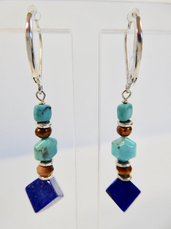 SILVER TURQUOISE LAPIS & TIGERS EYE EARRINGS