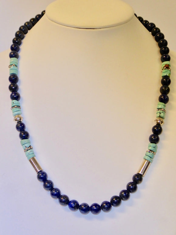 SILVER TURQUOISE & LAPIS NECKLACE