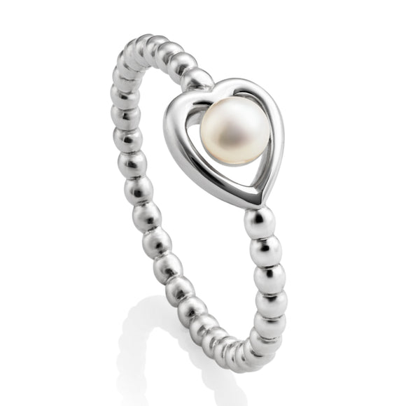 JERSEY PEARL OPEN HEART BEAD RING