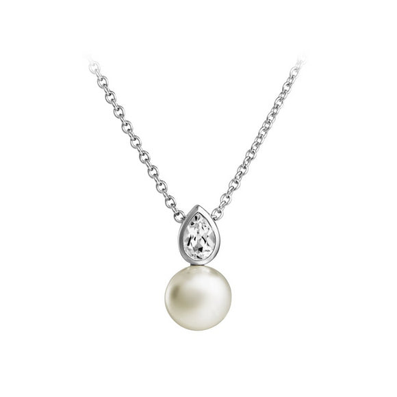 JERSEY PEARL SINGLE STONE WHITE TOPAZ & PEARL NECKLACE