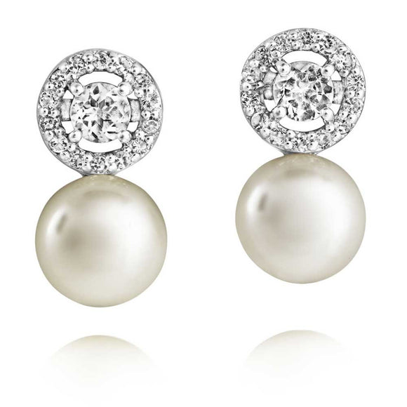 JERSEY PEARL WHITE TOPAZ & PEARL CLUSTER EARRINGS