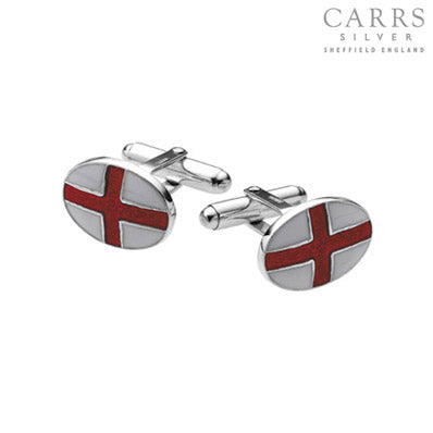 CARRS STERLING SILVER ST GEORGE ENAMELLED CUFFLINKS